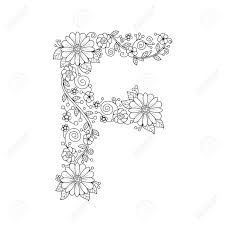 Important things about alphabet coloring pages.our kids grow up every day. Floral Alphabet Letter F Coloring Book For Adults Vector Illustration Hand Royalty Free Cliparts Vectors And Stock Illustration Image 100204465