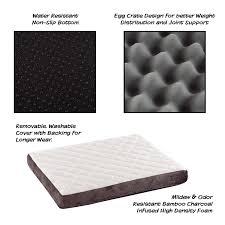 Egg Crate Design Petmaker Pet Bed Bamboo Charcoal Infused Odor Resistant Foam Collection