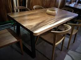 acacia solid wood dining table with steel leg round edge