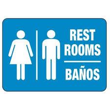 restroom signs. Interesting Restroom Bilingual Unisex Restroom Sign To Signs