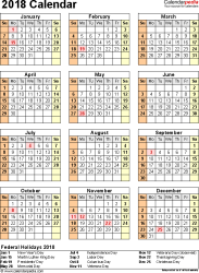 excel 2018 yearly calendar 2018 calendar download 17 free printable excel templates xlsx
