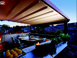 wood pergola over residential dining area outside