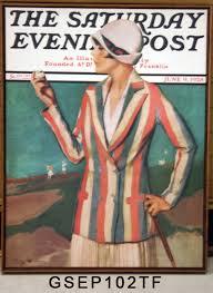gsep102tf woman inspecting golf ball vintage golf texturized framed print