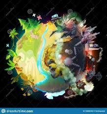 Futuro De Nuestra Tierra, Concepto Ecológico Stock de ilustración -  Ilustración de verde, lifeless: 128945783