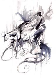 howling wolf drawing tattoo. Unique Howling Howling Wolf Blacku0026white Aquarelle Tattoo In Drawing Tattoo G