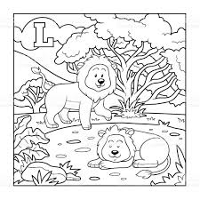 Coloring Book Colorless Alphabet For Children Letter L Stock