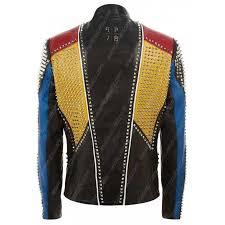 multicolor studded slimfit leather jacket multicolor studded slimfit leather jacket