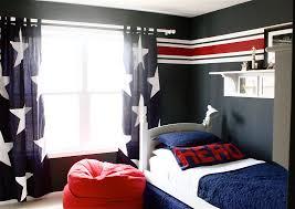 Teen boy curtains red blue white