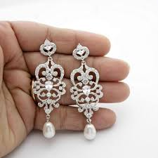 bridal chandelier earrings vintage style chandelier wedding earrings pearl cubic zirconia bridal jewelry long pearl drop earrings victoria 2517983
