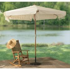 macrame trimmed patio umbrella