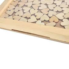 personalized wooden frame wedding guest book customized wedding drop box with 120 small wood hearts