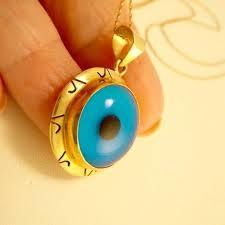 vintage 14k gold evil eye pendant