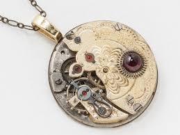 antique gold pocket watch necklace with flower engraving and genuine red garnet gemstone pendant clockwork statement steampunk jewelry
