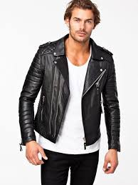 Men's Black Quilted Leather Biker Jacket, White Crew-neck T-shirt ... & Men's Black Quilted Leather Biker Jacket, White Crew-neck T-shirt, Black  Skinny Jeans Adamdwight.com