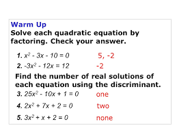 warm up solve each quadratic equation by factoring