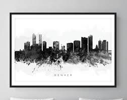 denver skyline art. denver skyline, colorado cityscape art print, wall art, watercolor, watercolour skyline e