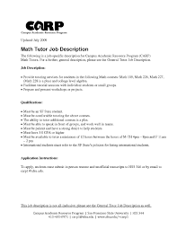 Tutoring Resume Math Tutor Resume Cover Letter E S Lewesmr Job Description 17