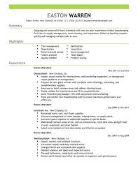 Room Attendant resume example