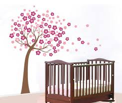 ... Beautiful Wall Decoration Using Cherry Blossom Wall Mural : Charming Baby  Nursery Room Decoration With Rectangular ...