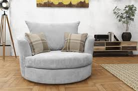 new round swivel cuddle chair fabric grey cream brown fast delivery
