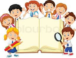 vector ilration of smiley little kids holding book on isolated background stock vector colourbox