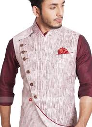 Mens Koti Design Sleeveless Khadi Silk Off White Color Koti Mens Kurta