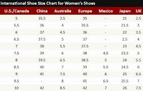 China Women S Size Chart 41 Memorable Foreign Shoe Size Conversion Chart