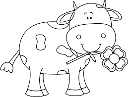 cow clipart black and white. Simple Black Black And White Cow With A Flower In Its Mouth Clip Art  And Clipart F