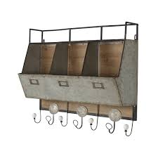 Rustic Wooden Coat Rack DSOV Arnica Rustic Wood and Metal Wall Storage Pockets with Coat 24