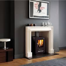 wood burning stove white fireplace grey walls i like the grey