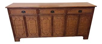 Vintage Hollywood Regency Style Wicker Rattan Credenza Buffet | Chairish