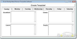 Excel Weekly Meal Planner Excel Weekly Meal Planner Template Software Create A Weekly Meal