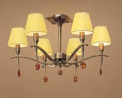 mantra m0344ab siena semi ceiling 6 light antique brass with amber silk string shade and amber