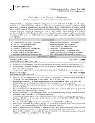 Job Resume Construction Project Manager Resume 2016 Commercial
