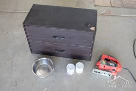all you need to create a diy raised dog bowl stand is a small dresser