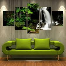5 pieces frameless canvas photo prints waterfall woods stone wall art picture canvas paintings home decor on stone wall artwork with 5 pieces frameless canvas photo prints waterfall woods stone wall