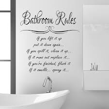 bathroom rules wall sticker quote funny vinyl decal graphic transfer mural art 55x100 black  on vinyl wall art uk with wall stickers for bathrooms uk my web value