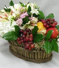 nyc basket rustic fruit and flowers