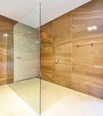 freflo frameless shower screen glass panel 10mm polished concrete floor shower base