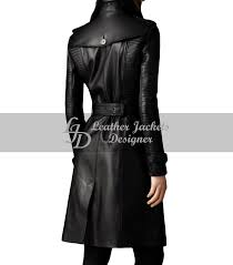 leather trench women runway overcoat womens long sleeved striped stitched black leather coat back