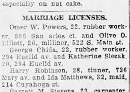 Harry Robinson Ida Matthews Marriage license 2/13/1920 Akron Beacon Journal  - Newspapers.com