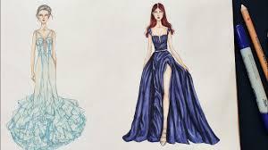 Cara menggambar dan mewarnai gaun anak perempuan. Desain Sketsa Busana Pesta
