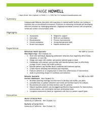 Behavior Specialist resume example