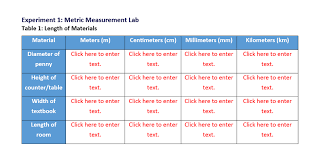 Meters To Centimeters Chart Solved Experiment 1 Metric Measurement Lab Table 1 Leng