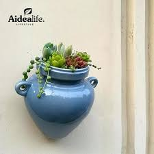 ceramic wall planters for succulents blue plant pots indoor gardening garden decor sprouting pot holders uk