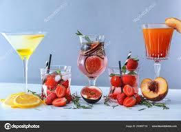 Light Cocktails Fresh Summer Cocktails In Glasses On Light Table Stock