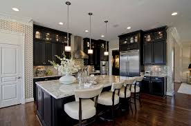 black kitchen cabinets with white marble countertops. Beadboard Kitchen Cabinets Traditional With Island Lighting White Marble Black Countertops