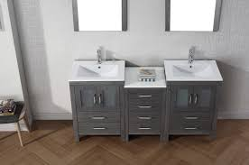 grey double vanity.  Double Virtu USA Dior 66 Double Bathroom Vanity Set In Zebra Grey For M