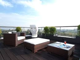 Exterior:Awesome Apartment Balcony Ideas With Rattan Furniture Sets Plus  White Pad Also Tables Plus