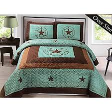 rustic comforter sets. Simple Rustic Western Star Barbed Wire King Size Quilt And Shams 3pc Set Turquoise Blue Throughout Rustic Comforter Sets R